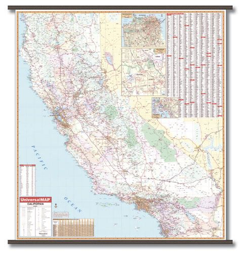 Wall Maps California State Wall Maps City Wall Maps County Wall - Laminated state wall maps