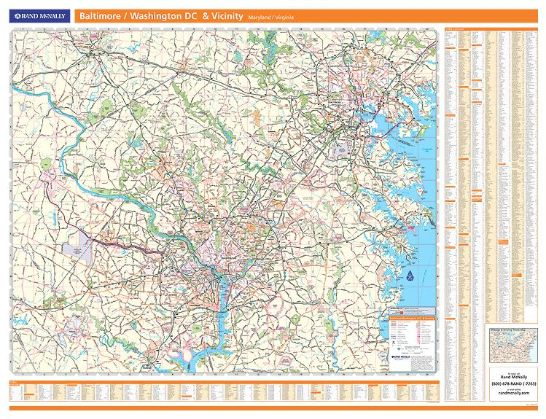 Wall Map Baltimore Washington DC Vicinity Wall Map Rand McNally - Rand mcnally us wall map