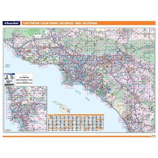 Southern California Freeways Arterial Wall Map Thomas Bros Maps - Rand mcnally easy to fold maps
