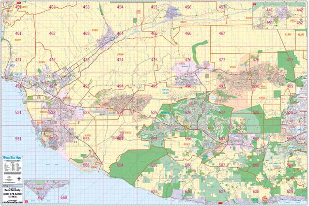 Ventura County Wall Map Thomas Bros Maps